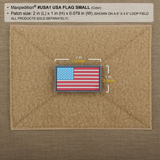 "Full Color Morale Patch 2/"" x 1/"" Maxpedition MXUSA1C USA Flag Patch Small"
