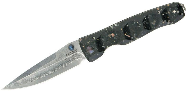 Mcusta MC-123D Tactility Folding Knife 3.75 inch VG10 Damascus Plain Blade, Corian Handles