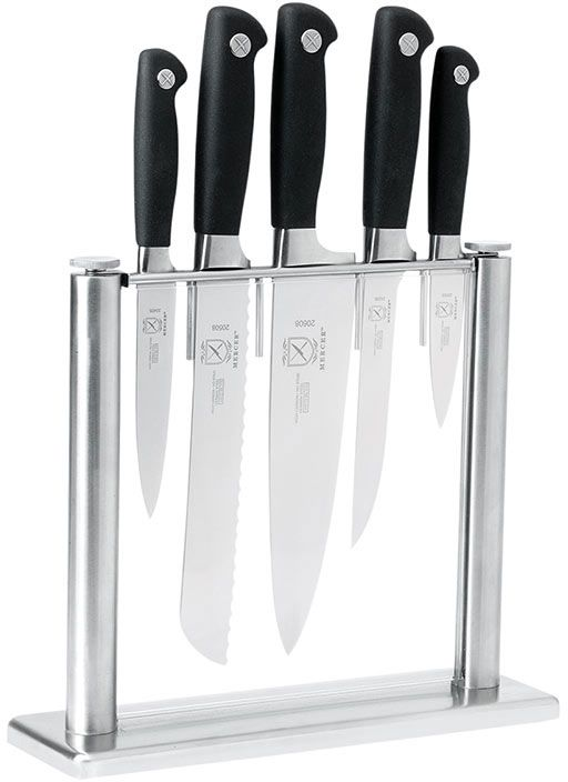 Mercer Cutlery Genesis 6 Piece Knife Block Set with Tempered Glass Knife Block
