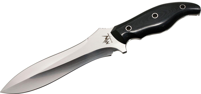Mercworx Black Chili Combat Knife 6.5 inch S30V Blade, Black Linen Micarta Handles