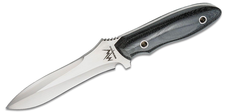 Mercworx Meggido Combat Knife 5.5 inch S30V Plain Satin Blade, Black Linen Micarta Handles