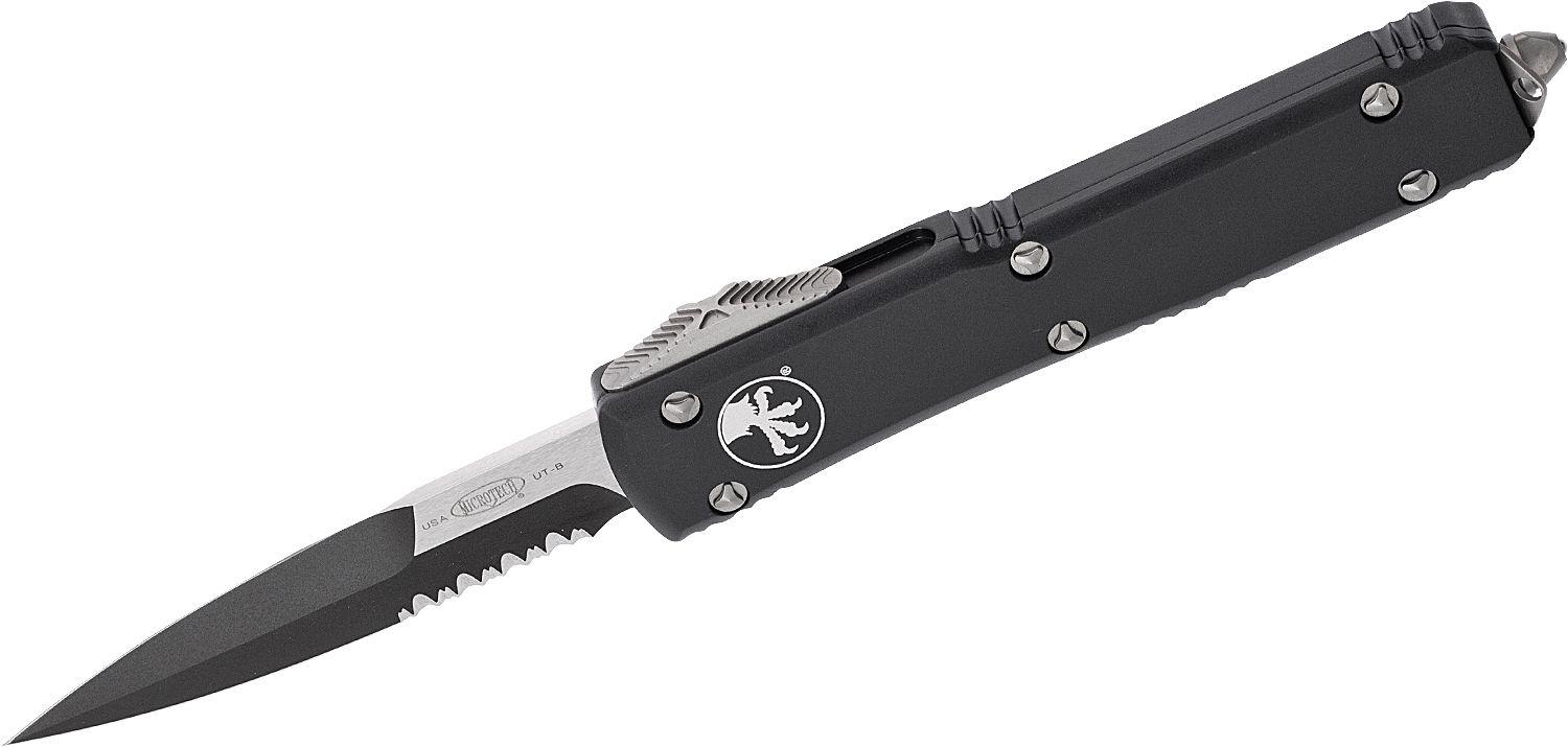 Microtech 120-2 Ultratech AUTO OTF Knife 3.46 inch Black Double Edge Bayonet Blade, Black Aluminum Handle