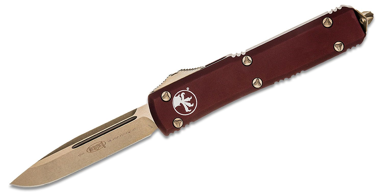 Microtech 121-13MR Ultratech AUTO OTF 3.46 inch Bronze Drop Point Blade, Merlot Aluminum Handles