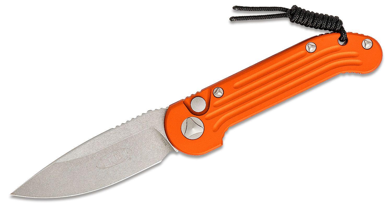 Microtech 135-10OR LUDT AUTO 3.375 inch Stonewashed Plain Blade, Orange Aluminum Handles