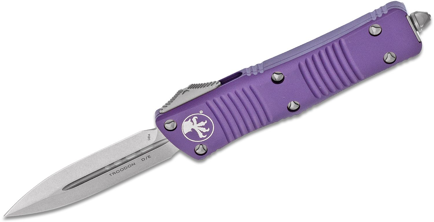 Microtech 138-10PU Troodon AUTO OTF Knife 3.06 inch Stonewashed Double Edge Dagger Blade, Purple Aluminum Handle