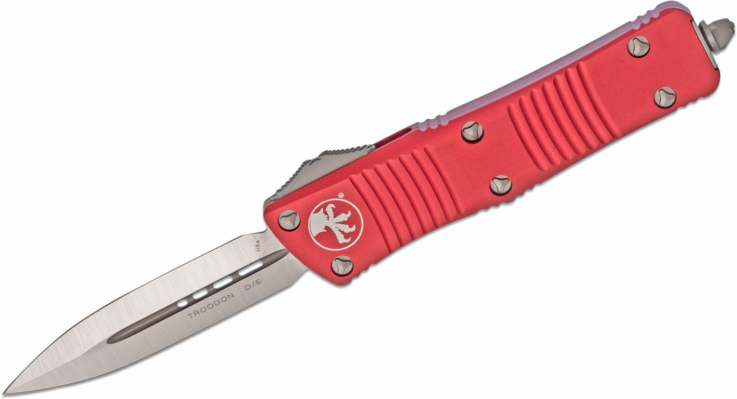Microtech 138-4RD Troodon AUTO OTF Knife 3.06 inch Satin Double Edge Dagger Blade, Red Aluminum Handles