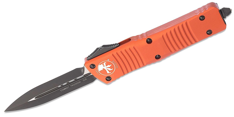 Microtech 142-1OR Combat Troodon AUTO OTF 3.75 inch Black Double Edge Dagger Blade, Orange Aluminum Handles