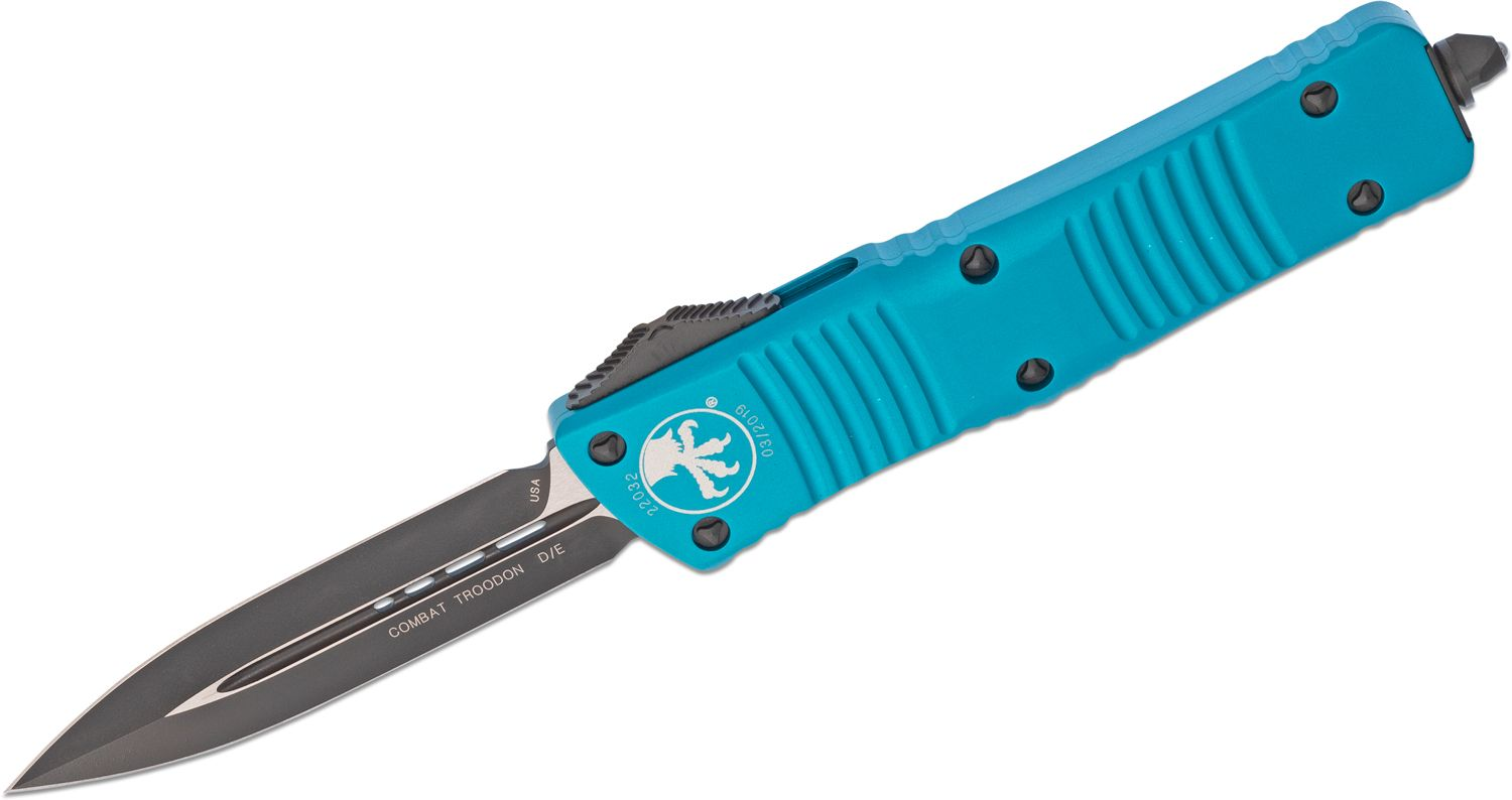 Microtech 142-1TQ Combat Troodon AUTO OTF Knife 3.75 inch Black Double Edge Dagger Blade, Turquoise Aluminum Handles