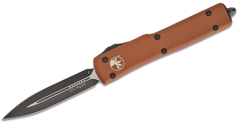 Microtech 147-1TA UTX-70 AUTO OTF Knife 2.41 inch Black Plain Double Edge Blade, Tan Aluminum Handles