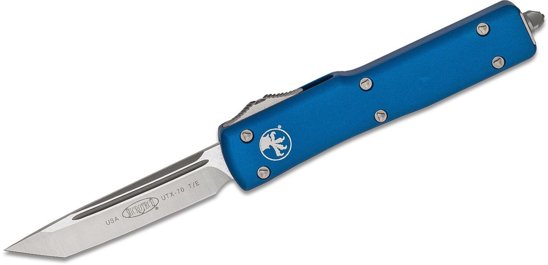 Microtech 149-4BL UTX-70 AUTO OTF Knife 2.41 inch Satin Plain Single Edge Tanto Blade, Blue Aluminum Handles