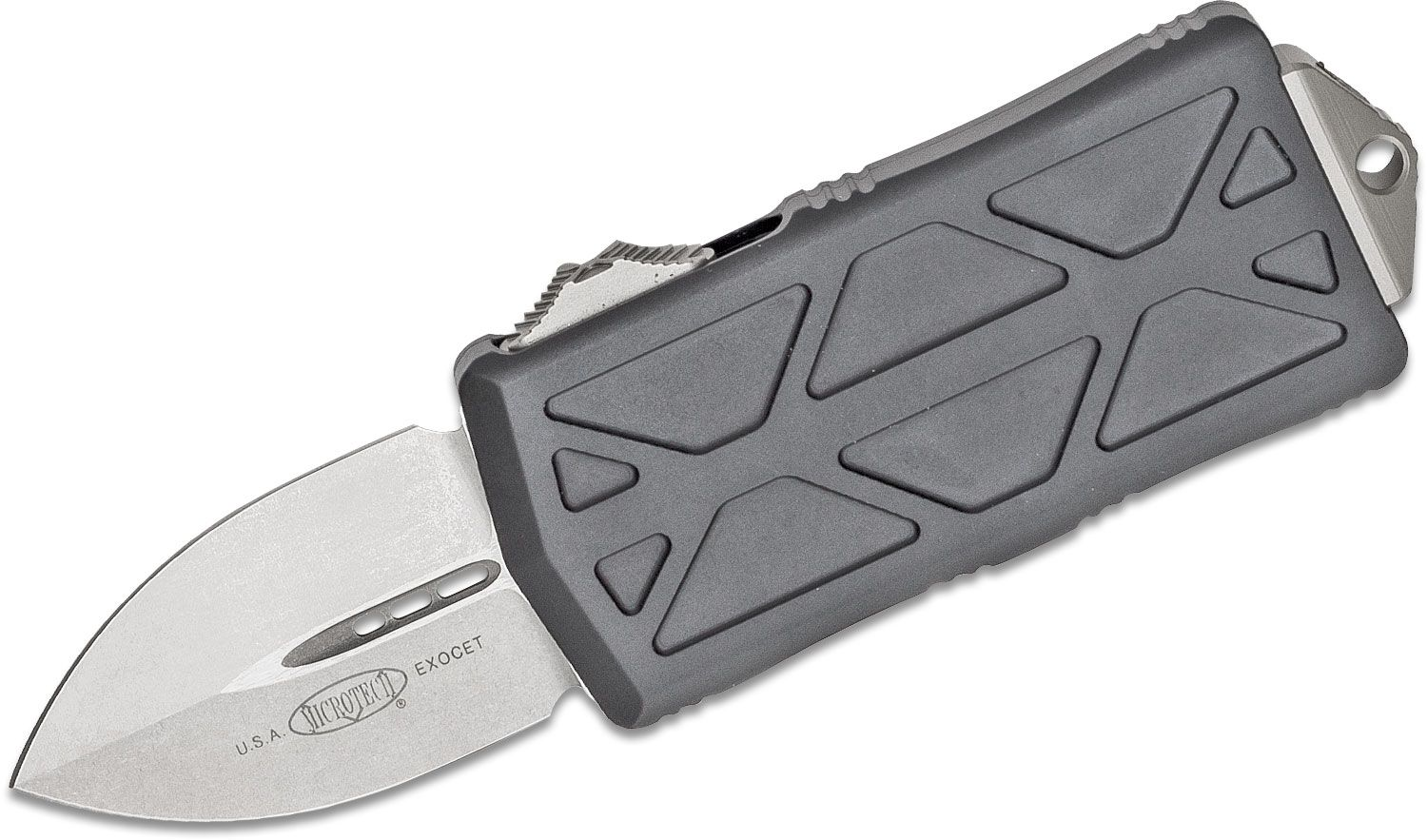 Microtech 157-10 Exocet OTF Money Clip AUTO Knife 1.98 inch Stonewashed Double Edge Blade, Black Aluminum Handles