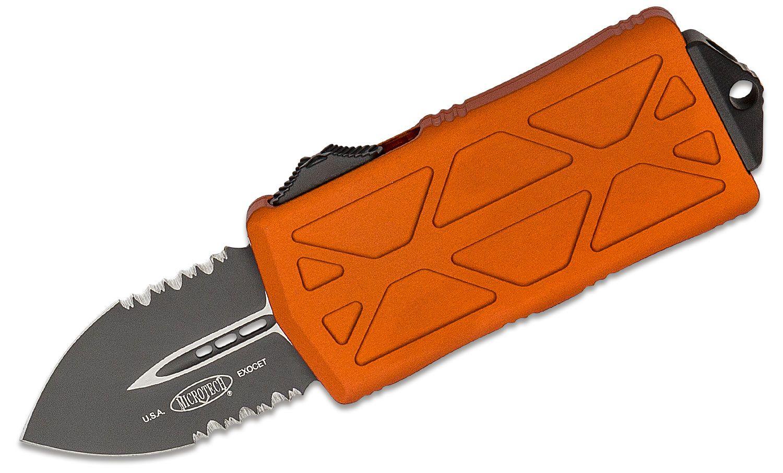 Microtech 157-2OR Exocet OTF Money Clip AUTO Knife 1.98 inch Black Double Combo Edge Blade, Orange Aluminum Handles