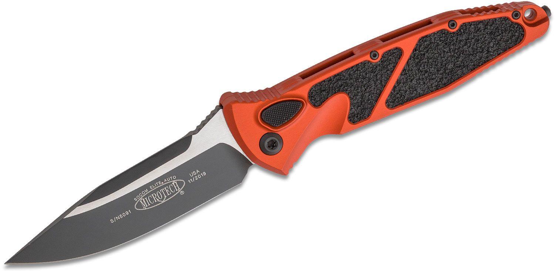 Microtech 160A-1OR Socom Elite AUTO Folding Knife 4.05 inch Black Clip Point Plain Blade, Orange Aluminum Handles