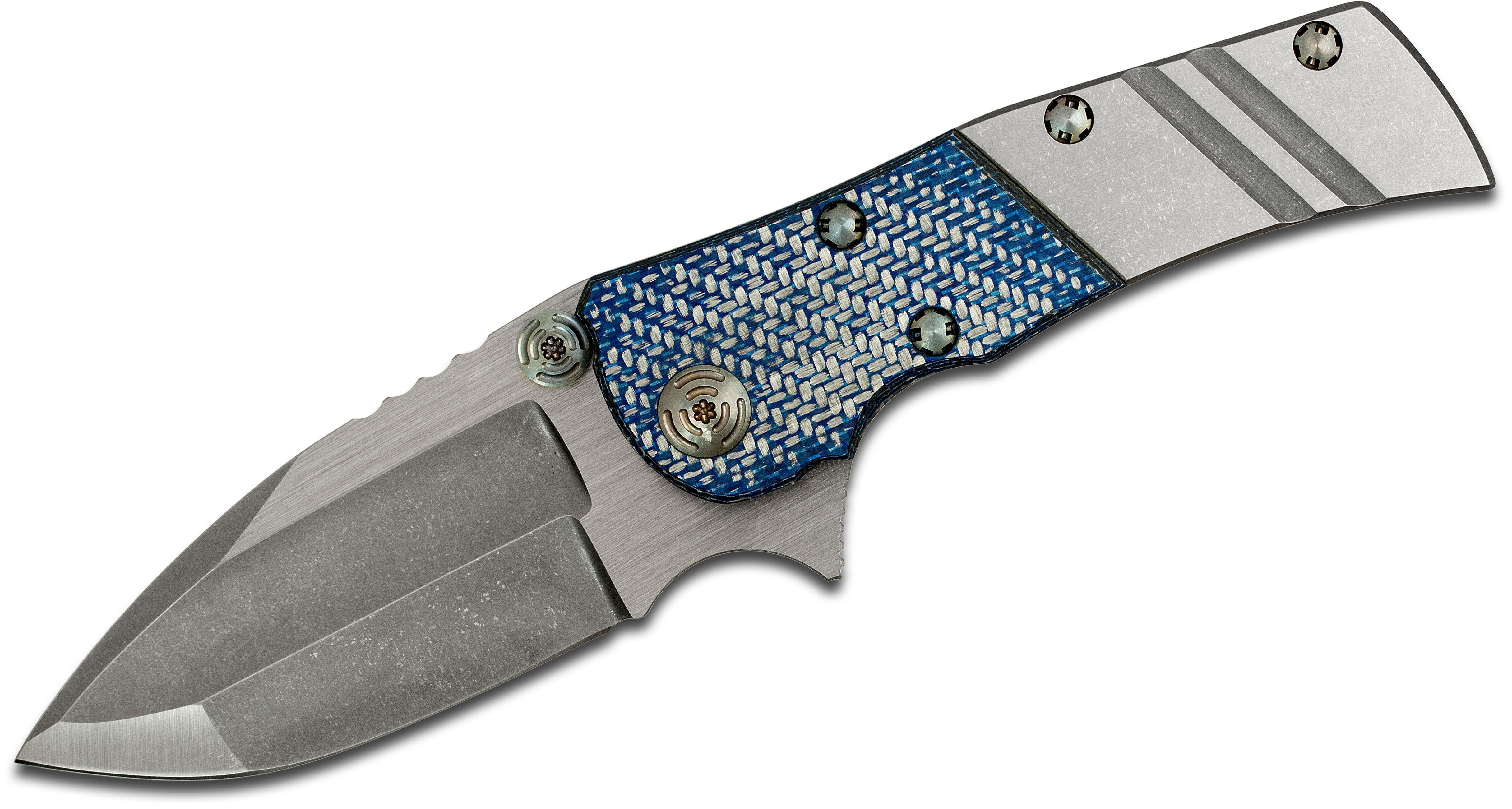 Mikkel Willumsen Custom Classic UrbanTactical Flipper 3.55 inch CPM-154 Two-Tone Blade, Titanium Handles with Blue Silver Twill Bolster
