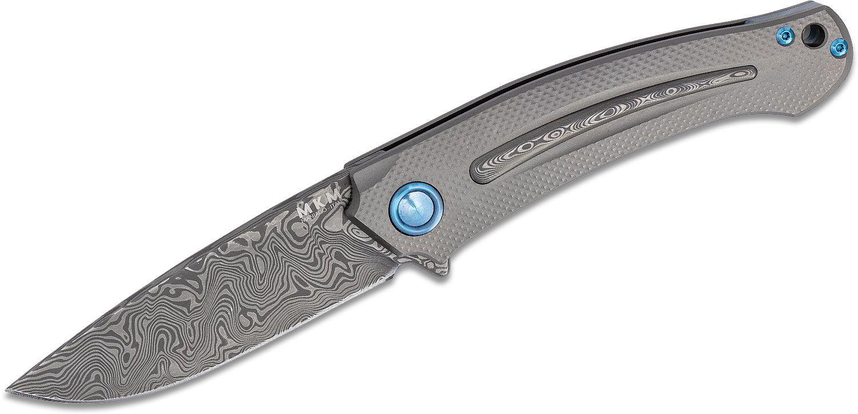 MKM FOX Knives Lucas Burnley Arvenis Flipper Knife 3.35 inch Vinland Damasteel Blade, Titanium Handles with Vinland Damasteel Inlays