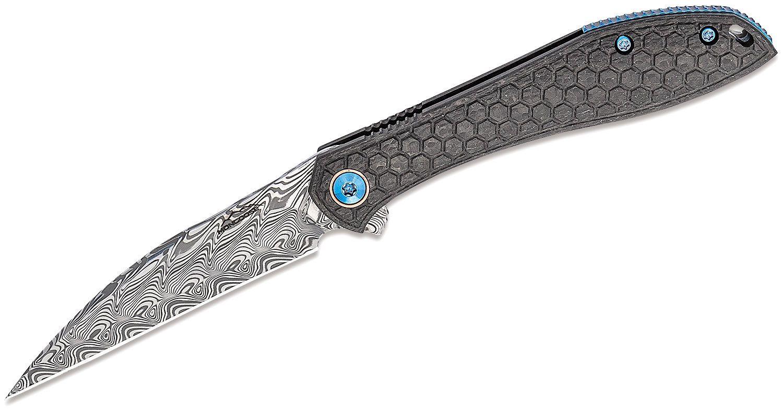 Jerry Moen Mongoose Flipper Knife 3.625 inch Damasteel Wharncliffe Blade, Honeycomb Machined Carbon Fiber Handles, Timascus Clip