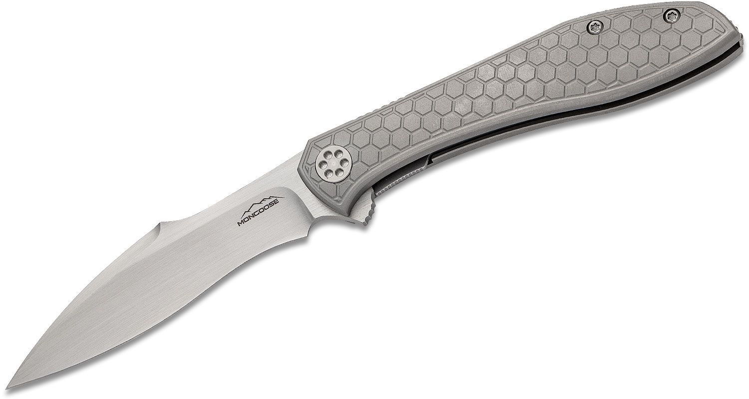 Jerry Moen Production Mongoose Flipper Knife 3.625 inch RWL-34 Hand Rubbed Satin Recurve Blade, Honeycomb Machined Titanium Handles