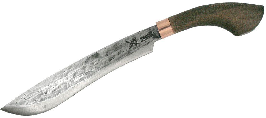 MY Parang Golok 125 Machete 11 inch Carbon Steel Blade, Wood Handle, Nylon Sheath