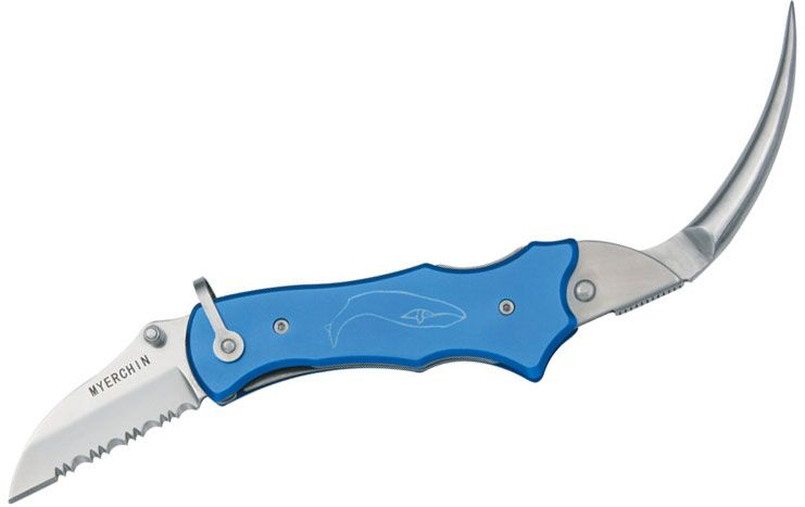 Myerchin P300BL Sailor's Tool 2.25 inch 440C Serrated Blade, Pliers, Blue Aluminum Handles