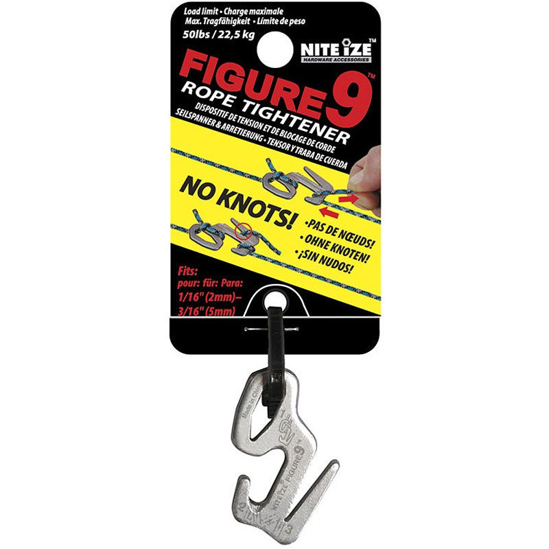 Nite Ize Figure 9 Small Rope Tightener, Silver, Single Pack (F9S-02-09)