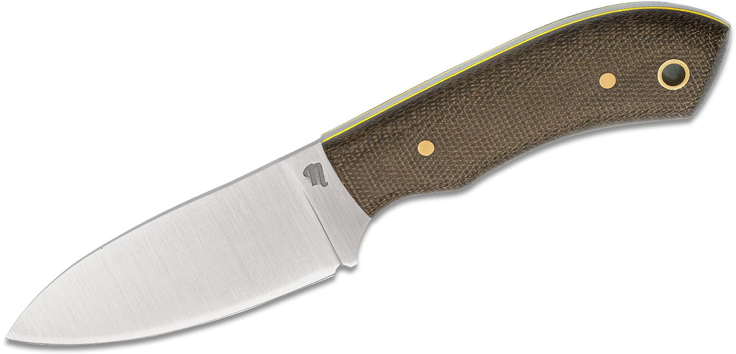 Nordsmith Skipjack 3 inch AEB-L Fixed Blade Knife, Green Micarta Handles with Yellow Liners, Leather Pocket Sheath