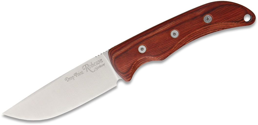 Ontario Robeson Heirloom Drop Point Hunter Fixed 4.19 inch Satin D2 Blade, Wood Handles, Brown Leather Sheath