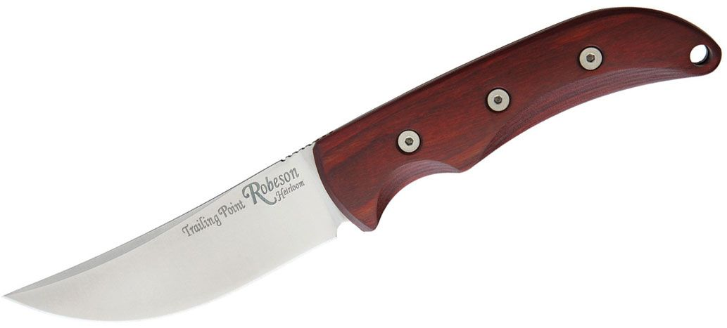 Ontario Robeson Heirloom Trailing Point Hunter Fixed 4.19 inch Satin D2 Blade, Wood Handles, Brown Leather Sheath