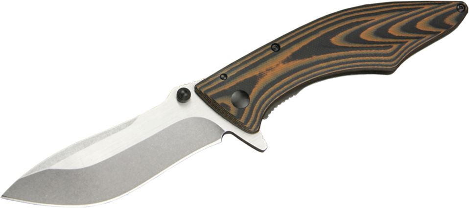 Outdoor Edge Large Conquer Flipper Knife 3.5 inch Plain Blade, G10 and Stainless Steel Handles