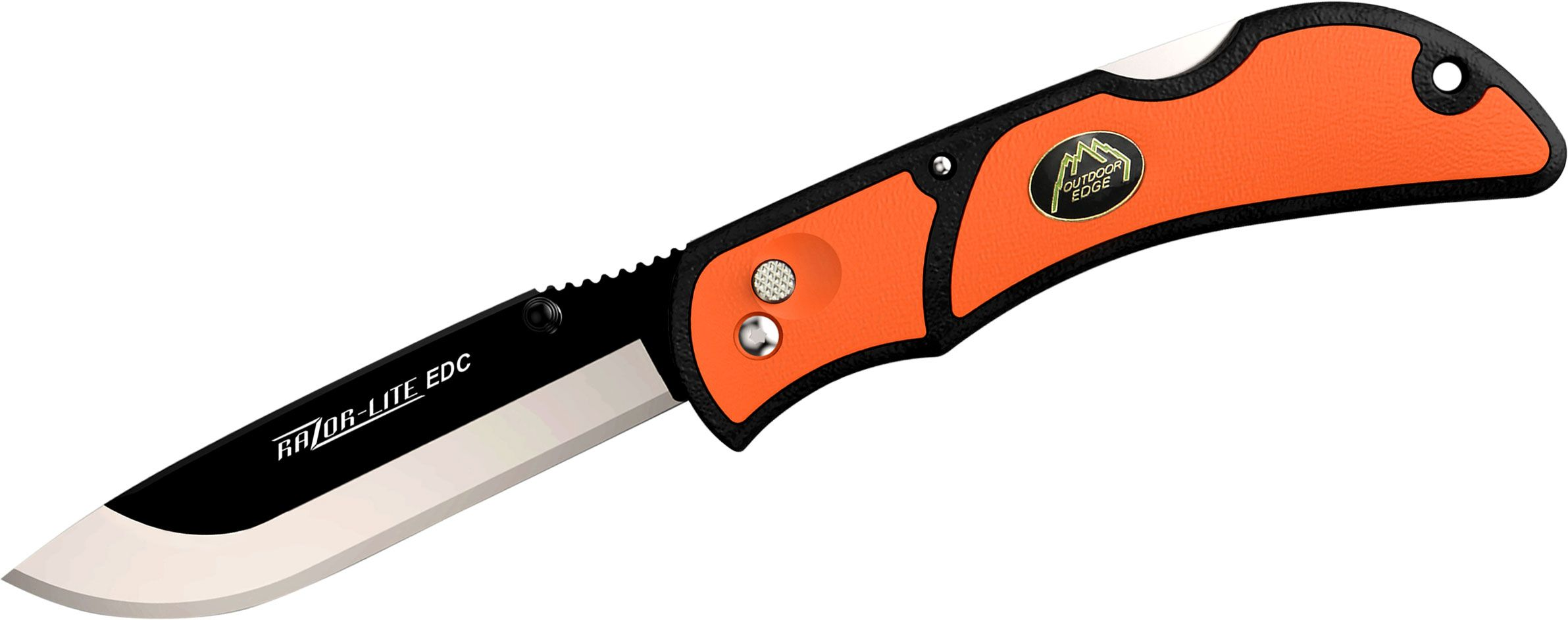 Outdoor Edge Razor-Lite EDC Folding Hunter 3.5 inch Replaceable Blade, Orange Rubberized TPR Handles
