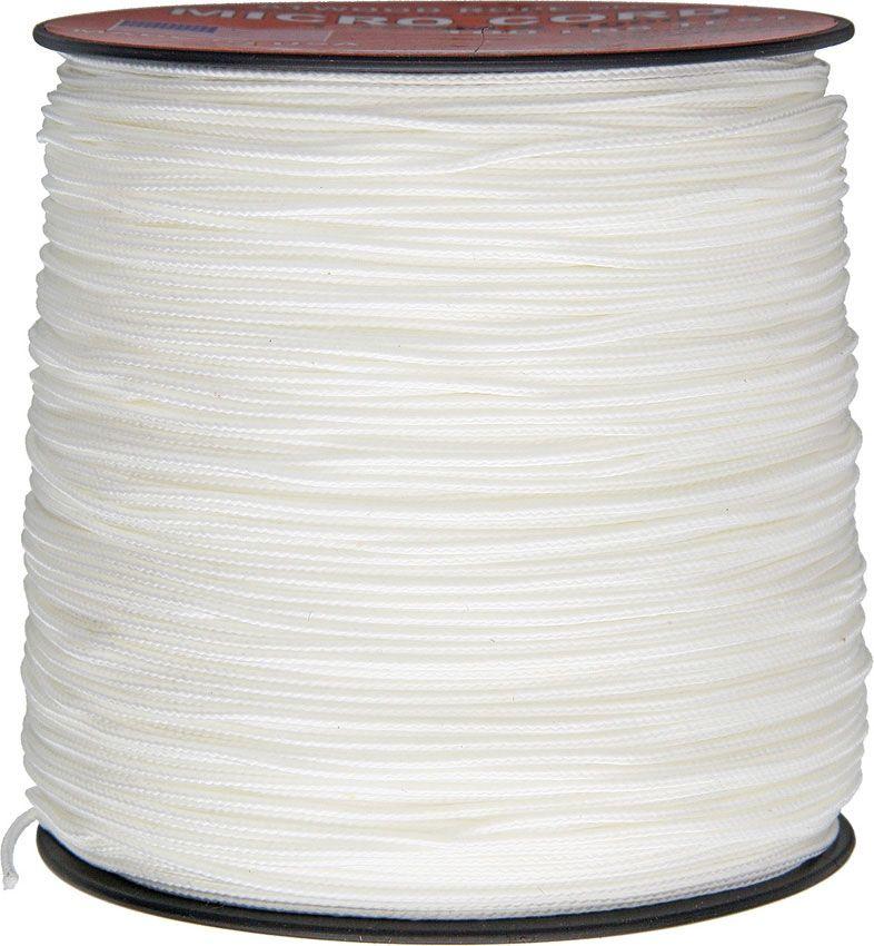 550 Micro Cord, White, Nylon Braided, 1,000 Feet x 1.18 mm