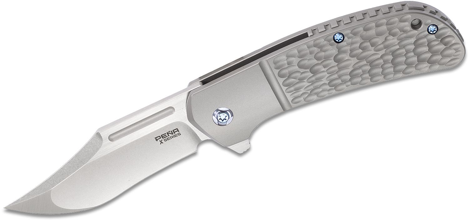 Enrique Pena X Series Lanny's Clip Flipper Knife 3.25 inch S35VN Two-Tone Clip Point Blade, Jigged Titanium Handles with Faux Bolsters