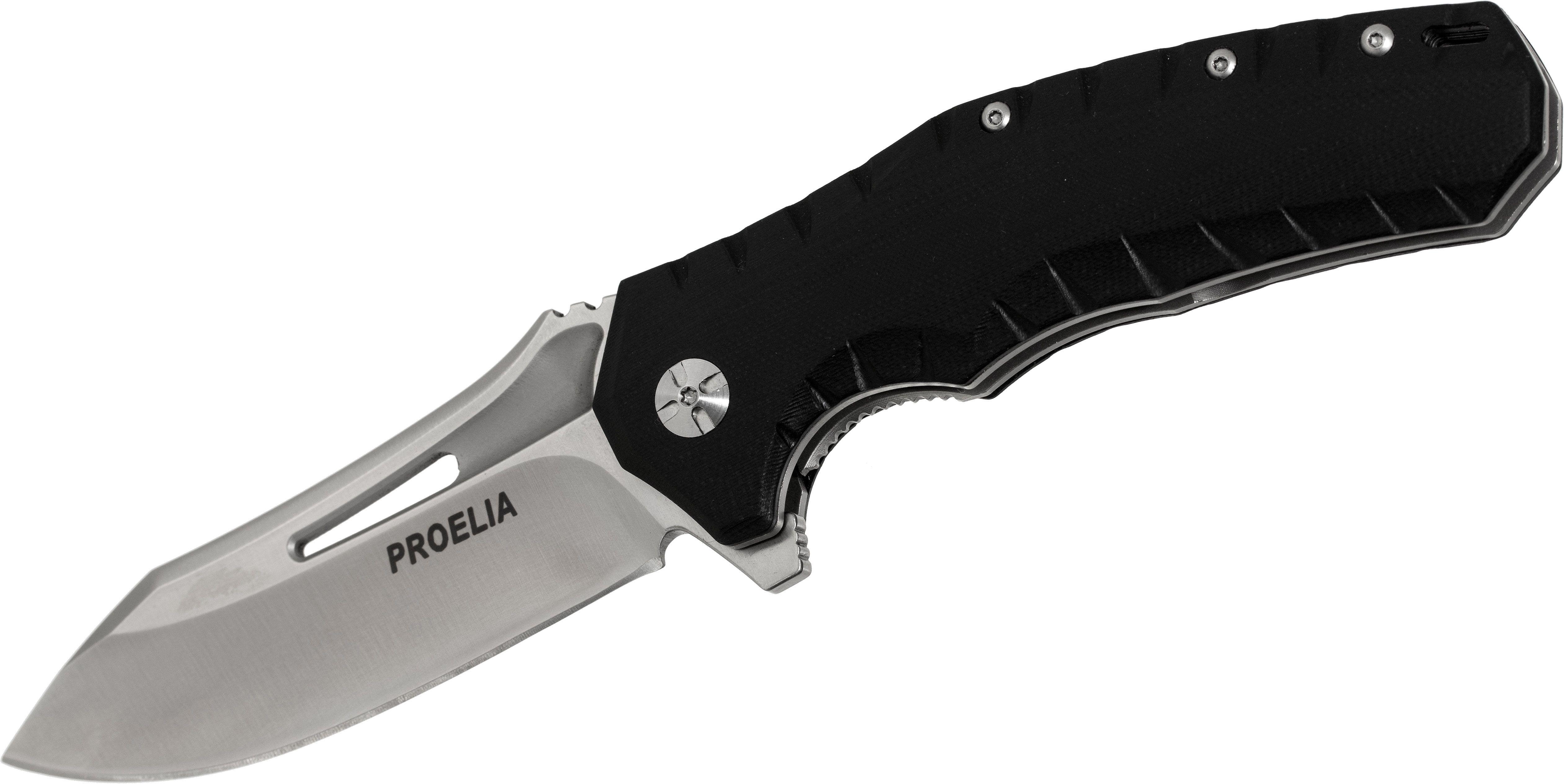 Proelia Knives TX020 Tactical Folder 4 inch Satin D2 Drop Point Blade, Black G10 Handles