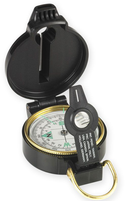 NDūR Lensatic Compass with Whistle, Black