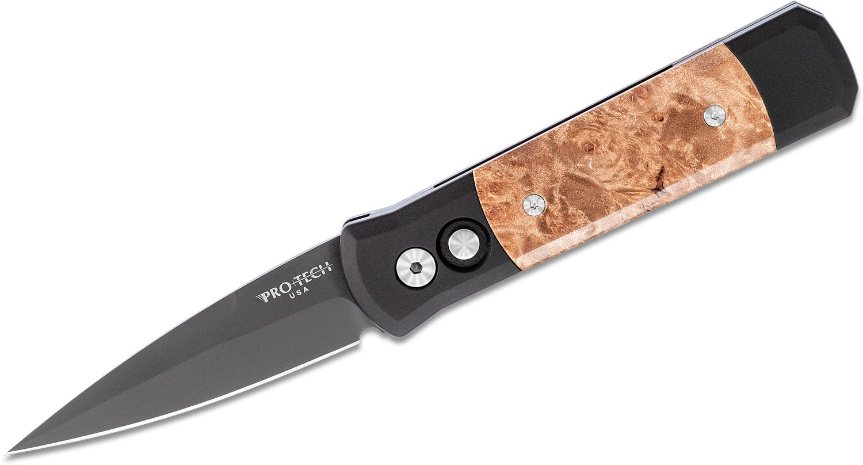 Pro-Tech 707 Godson AUTO Folding Knife 3.15 inch 154CM Black DLC Plain Blade, Black Aluminum Handles with Maple Burl Inlays