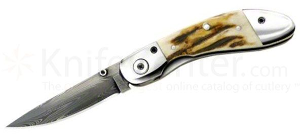 Queen Ranger Gentlemans Folding Knife 2.5 inch Damascus Blade, Stag Handles