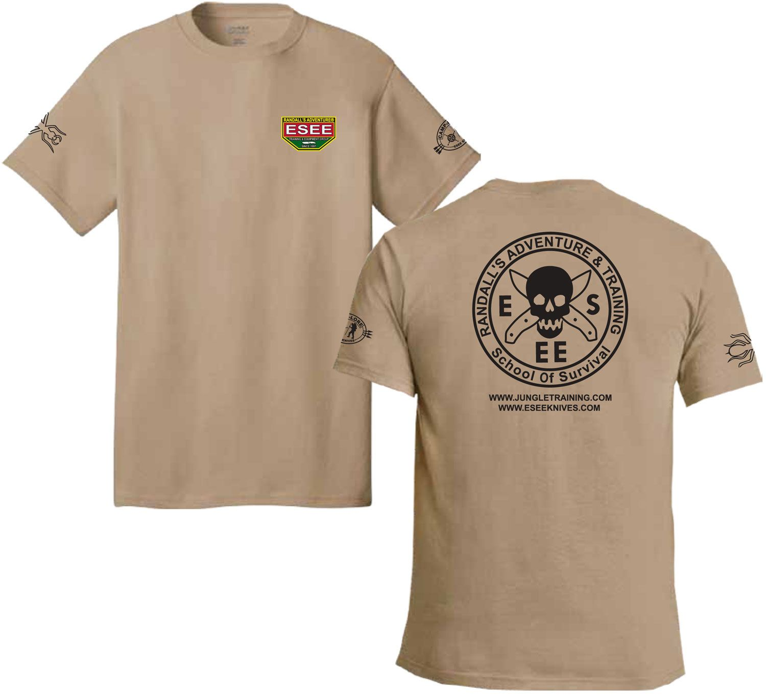 ESEE Knives Brown Training T-Shirt, Short Sleeve, 3XL