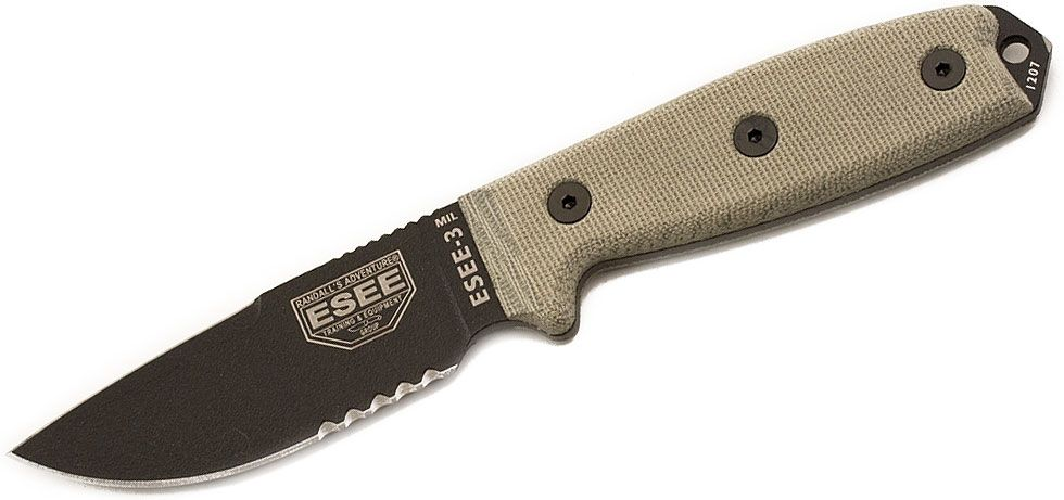 ESEE Knives ESEE-3MIL-S-CP Sharpened Clip Point Combo Edge, OD Green Sheath, MOLLE Back and Clip Plate