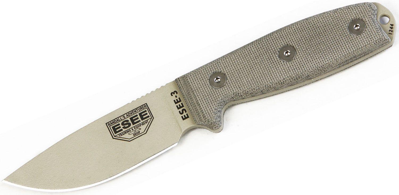 ESEE Knives ESEE-3PM-DT Desert Tan Plain Edge, Rounded Pommel, OD Green Sheath, Clip Plate