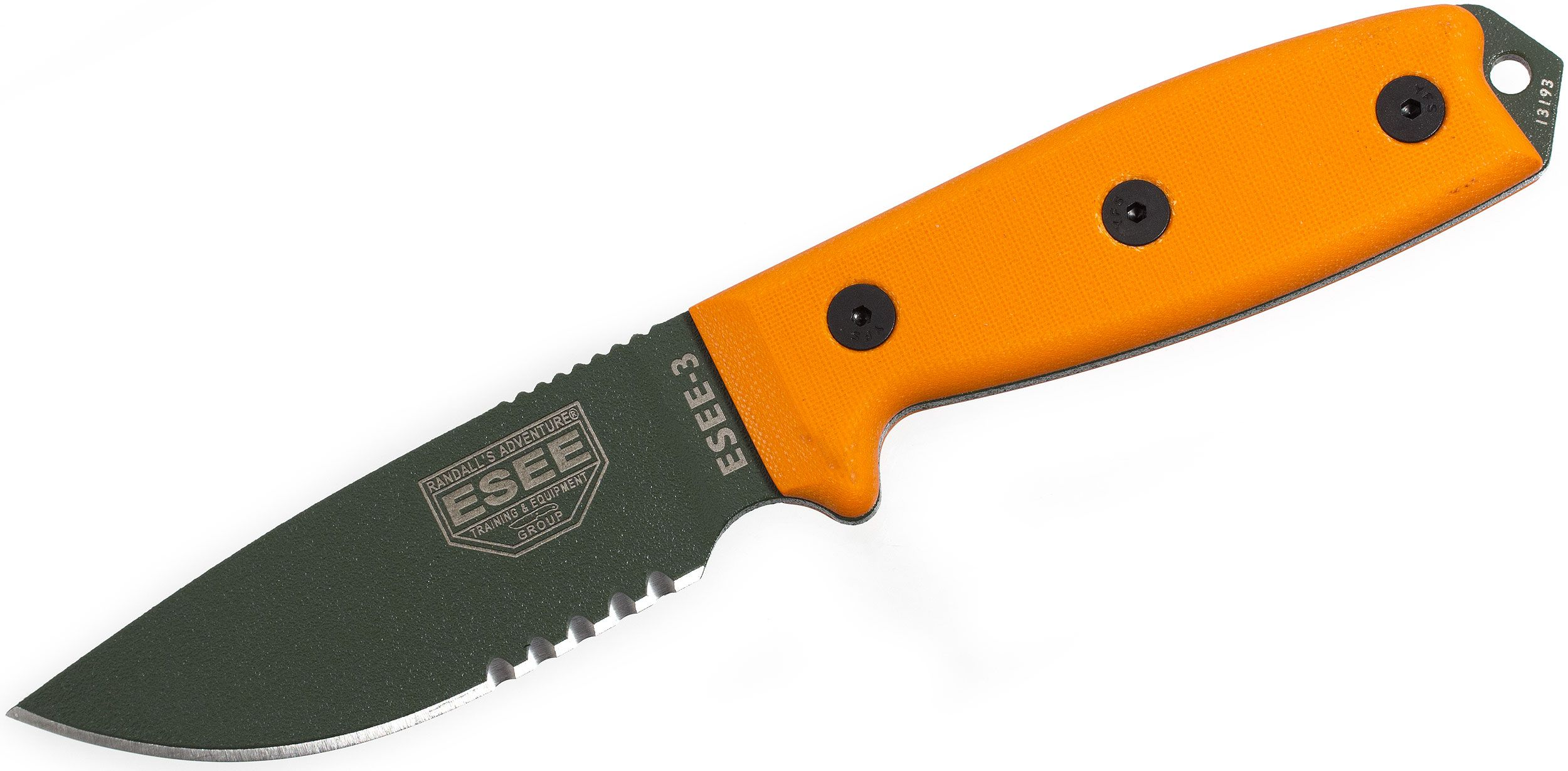 ESEE Knives ESEE-3S-MB-OD OD Green Combo Edge, Orange G10 Handles, Black Sheath, MOLLE Back and Clip Plate