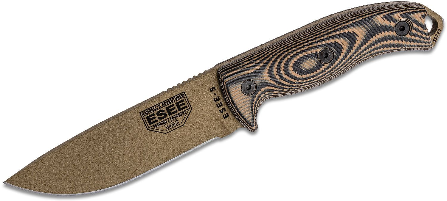 ESEE Knives ESEE-5PDE-005 Flat Dark Earth Plain Edge, 3D Machined Coyote Brown/Black G10 Handles, Black Kydex Sheath, Clip Plate