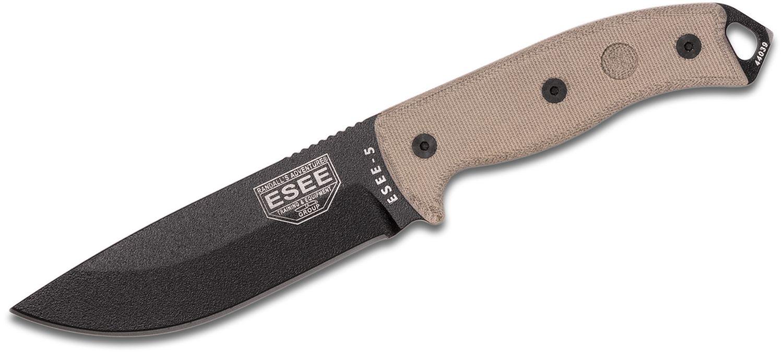 ESEE Knives ESEE-5P-E Plain Edge, Tan Micarta Handles, Black Kydex Sheath, Clip Plate