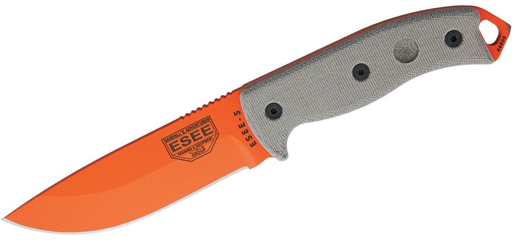 ESEE Knives ESEE-5P-OG Orange Plain Edge, Black Kydex Sheath, Clip Plate