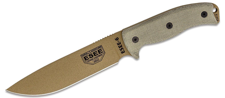 ESEE Knives ESEE-6P-DE Dark Earth Plain Edge, Black Sheath, Clip Plate
