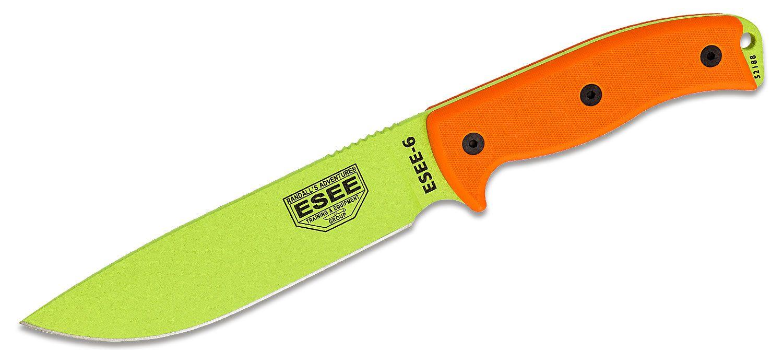 ESEE Knives ESEE-6P-VG Venom Green Plain Edge, Orange G10 Handles, Black Sheath, Clip Plate
