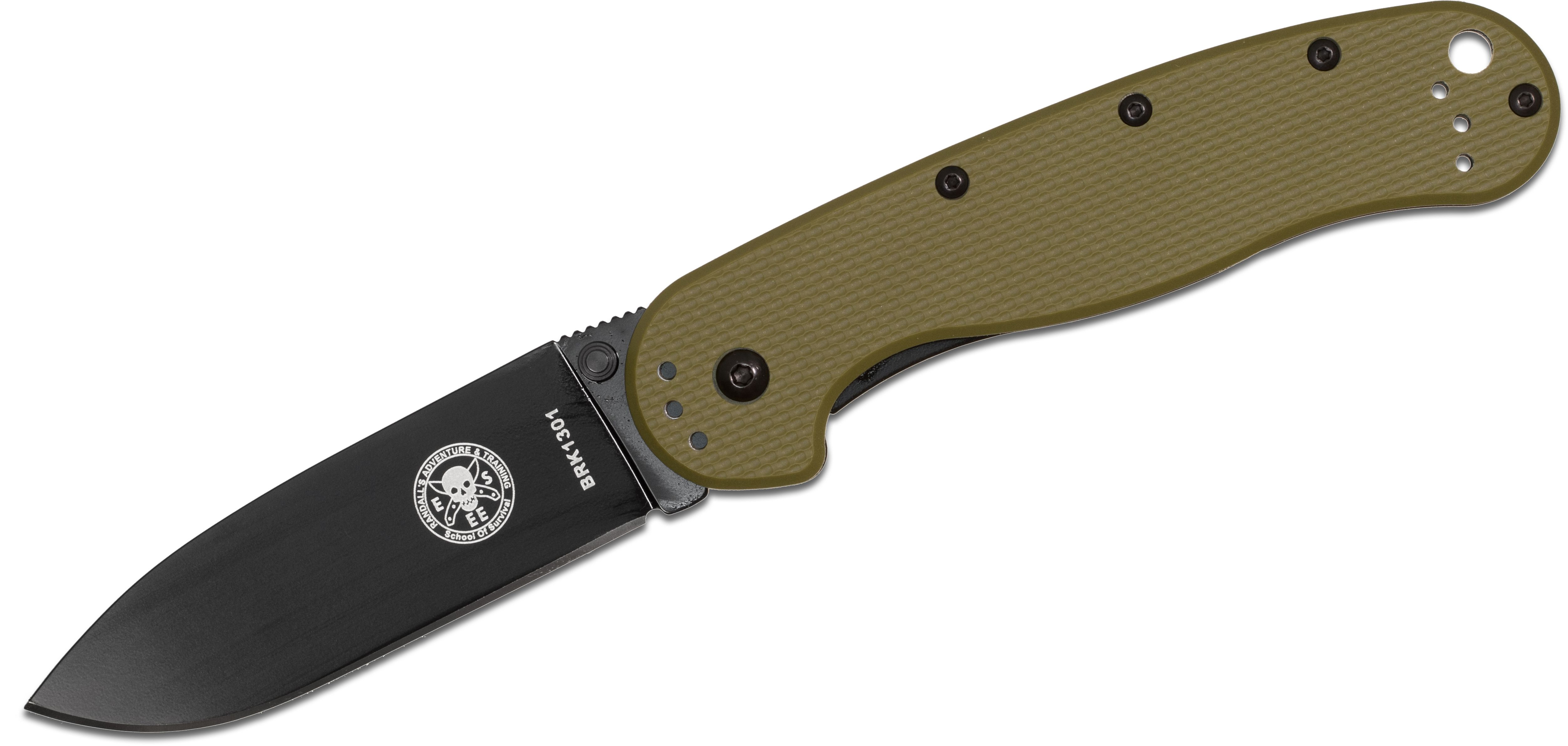 Avispa Folding Knife 3.5 inch Black D2 Blade, Olive Drab FRN and Stainless Steel Handles, Designed by ESEE