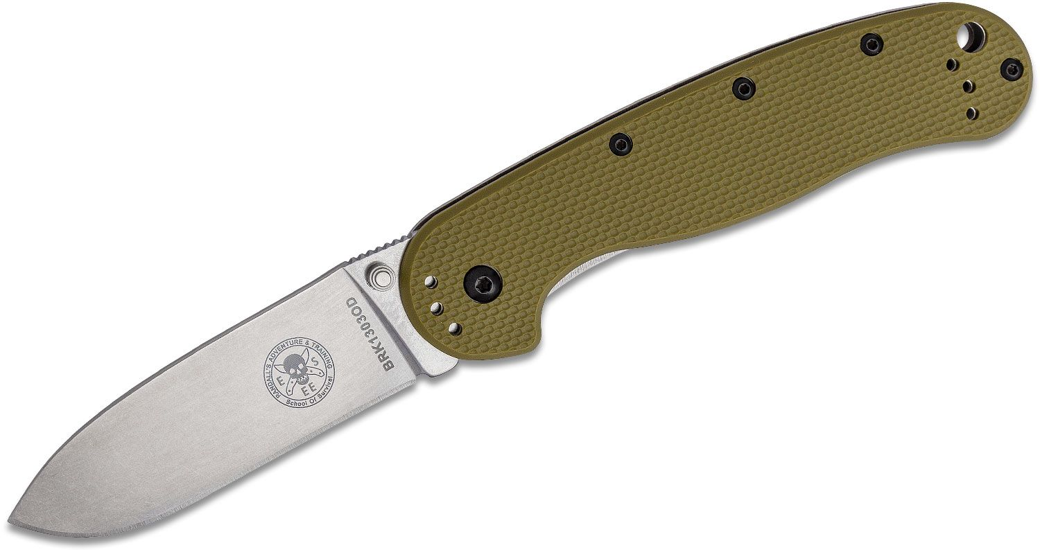 Avispa SK5 Folding Knife 3.5 inch Stonewashed SK5 Blade, OD Green FRN and Stonewashed Stainless Steel Handles, Designed by ESEE