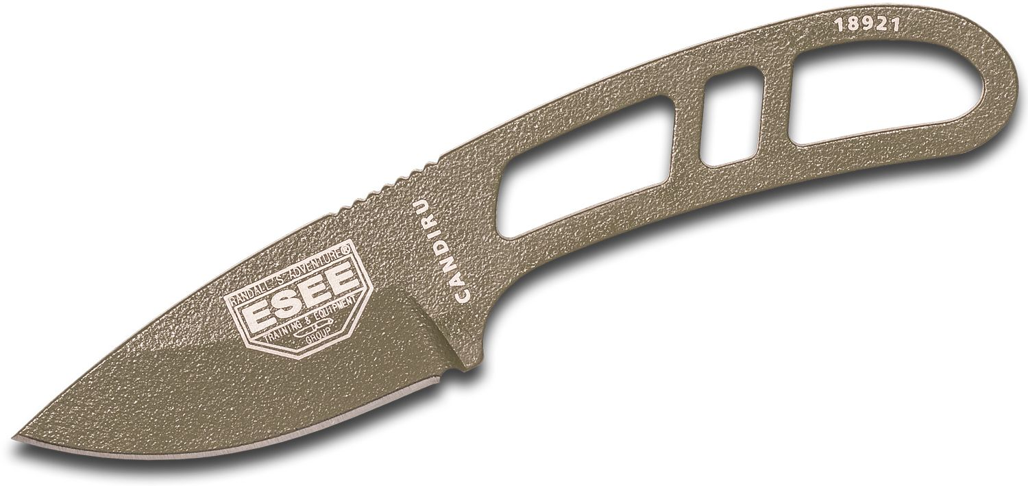 ESEE Knives CAN-OD-E Candiru Utility Fixed 2 inch 1095 Carbon Blade, OD Green Powder Coat, Cordura Sheath