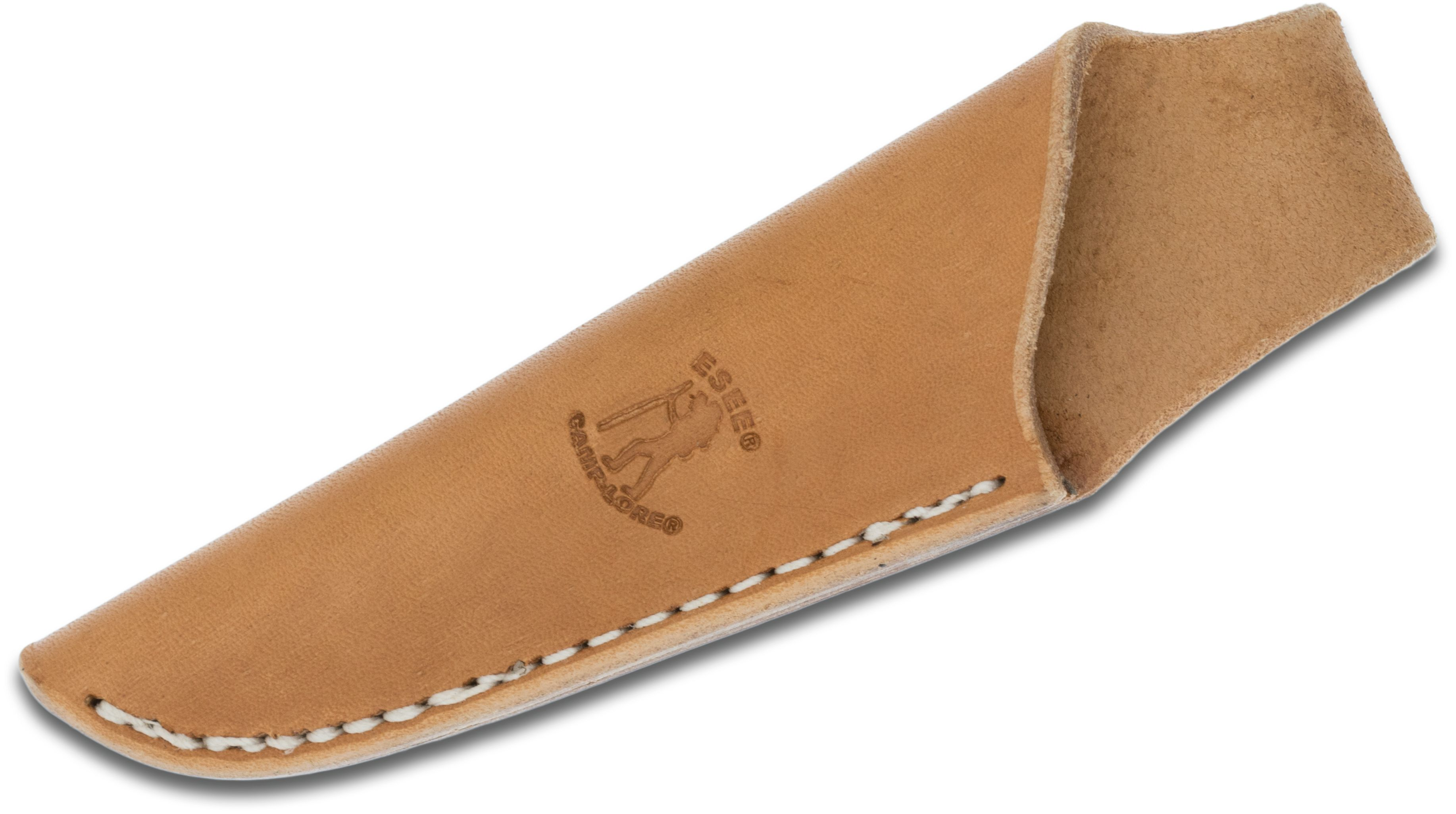 ESEE Knives Camp-Lore Cody Rowen CR2.5 Leather Sheath, Tan, Embossed Logo, Left-Handed