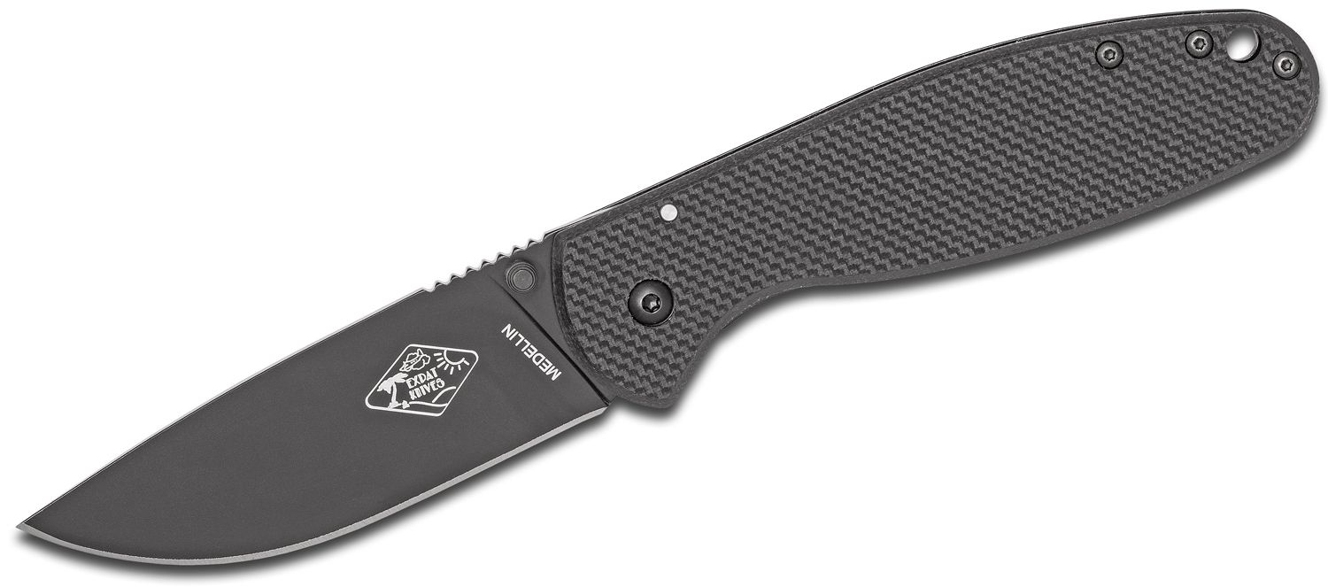 ESEE Knives Expat MEDELLIN Folding Knife 3.5 inch Black Plain Blade, Black FRN and Stainless Steel Handles