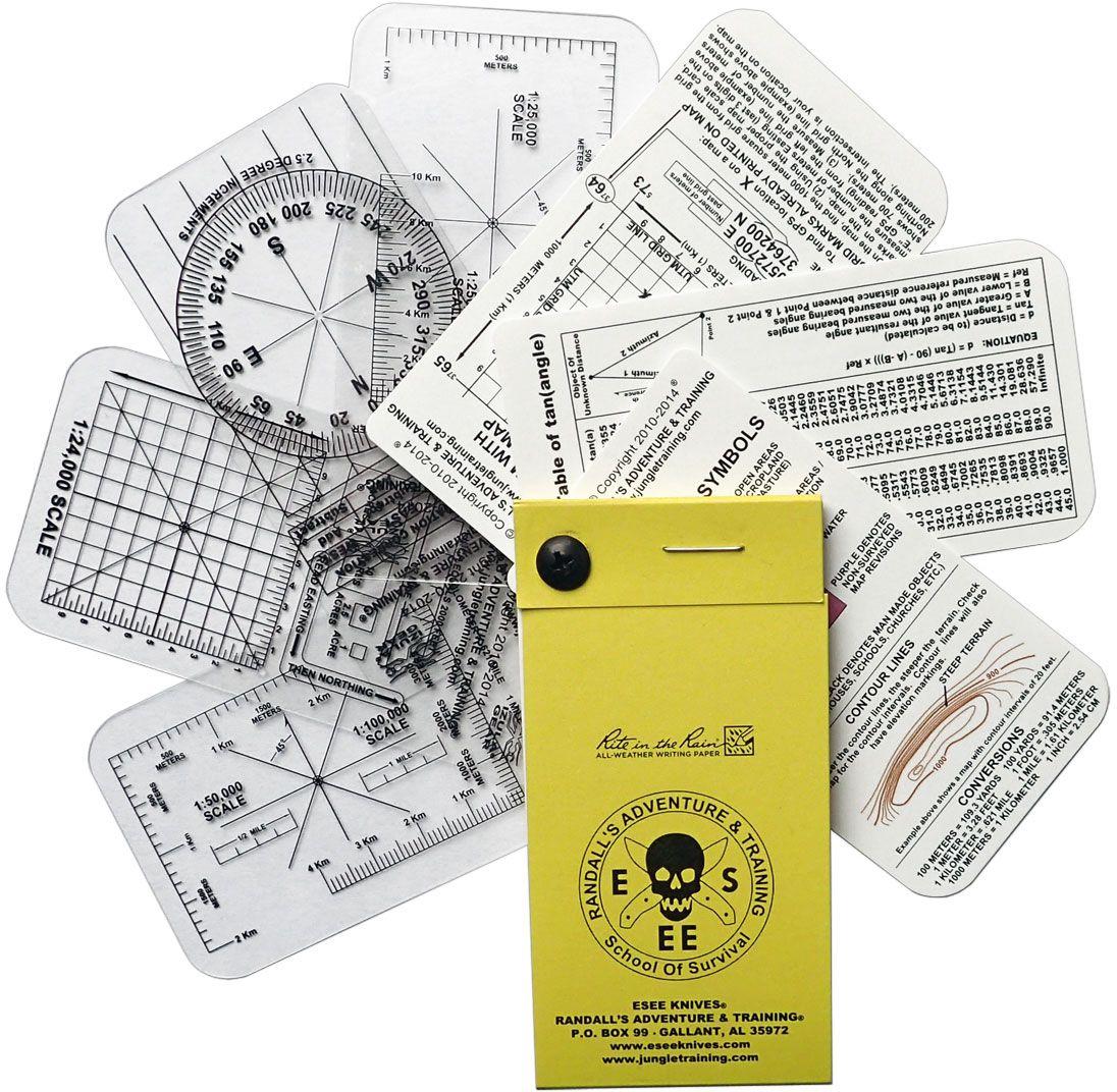 ESEE Knives Izula Gear Pocket Nav Card Set with Rite in the Rain Micro Notebook, 7-Card Set